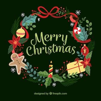 Couronne de Noël avec de jolis éléments