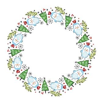 Couronne de Noël dessinée à la main