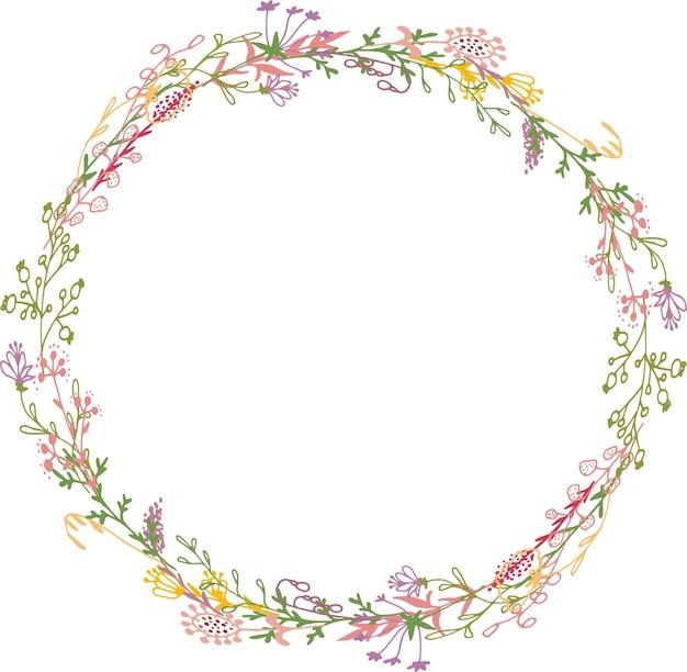 Couronne décorative de fleurs et de brindilles invitation de carte de voeux délicate pour mariage et anniversaire