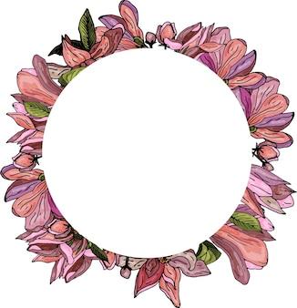Couronne décorative de magnolias roses invitation de carte de voeux délicate pour mariage et anniversaire