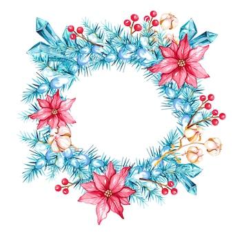 Couronne décorée d'aquarelle avec des fleurs de noël en coton