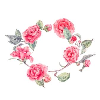 Couronne de dentelle avec des fleurs de camélia