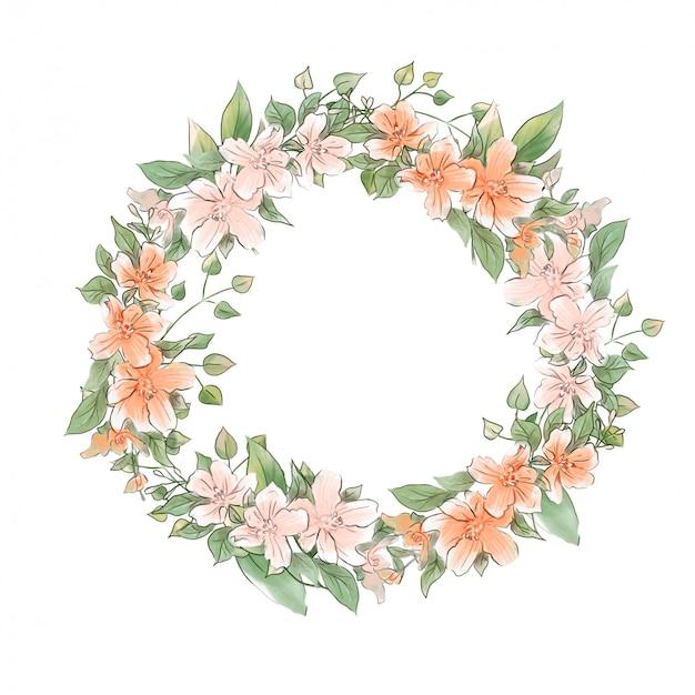 Couronne de dessin à la main aquarelle de fleurs délicates de printemps