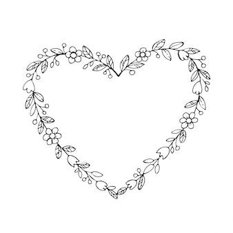 Couronne dessinée à la main en forme de coeur avec des fleurs. frontières de croquis floraux, cadre coeur.