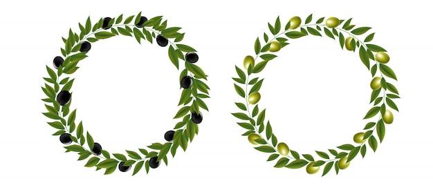 Couronne de deux olives isolé blanc
