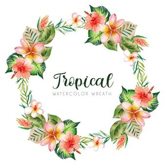 Couronne d'été aquarelle tropicale avec des fleurs rouges