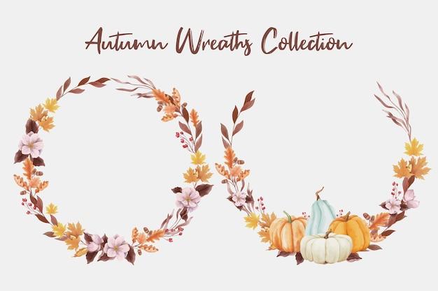 Couronne de feuilles d'automne et de citrouilles dans un style aquarelle