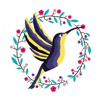 Couronne de fleur oiseau colibri tropical