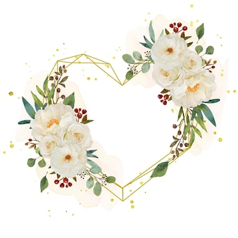 Couronne de fleurs d'amour avec aquarelle rose blanche et fleur de pivoine