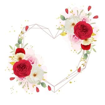 Couronne de fleurs d'amour avec des roses blanches et rouges roses aquarelles
