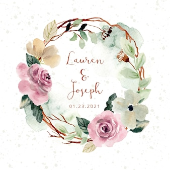 Couronne de fleurs aquarelle blush rose rustique