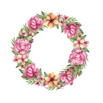 Couronne de fleurs aquarelle. cadre floral d'été avec des feuilles et des fleurs lumineuses, aquarelle dessinée à la main.
