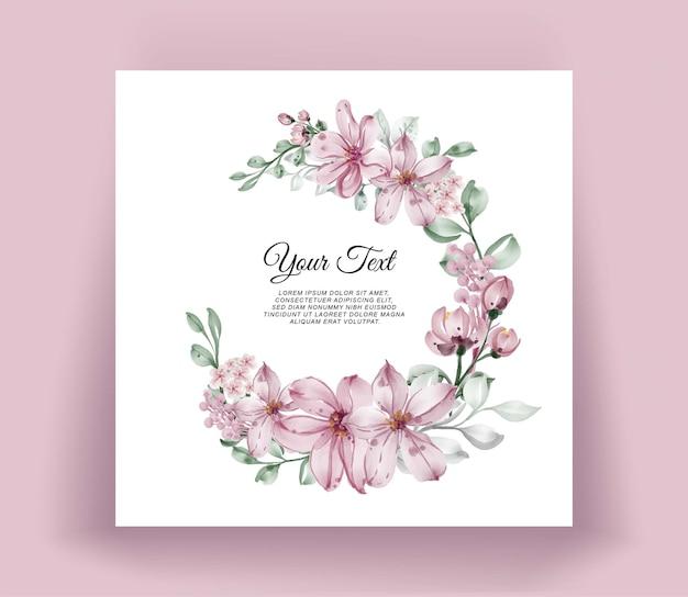 Couronne de fleurs aquarelle cadre floral