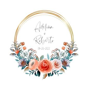 Couronne de fleurs aquarelle avec cercle doré