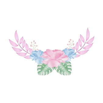 Couronne de fleurs aquarelle colorée