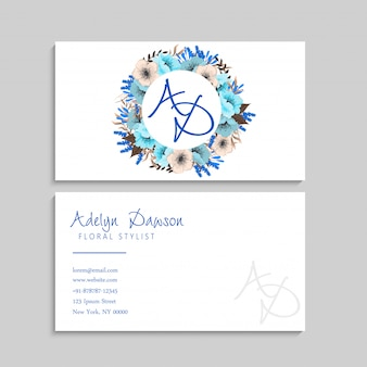 Couronne de fleurs bleu cartes de visite