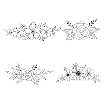 Couronne de fleurs bordure de fleurs dessin de contour illustration vectorielle de ligne
