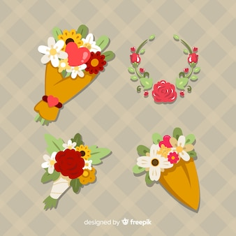Couronne de fleurs et bouquet de fleurs valentine