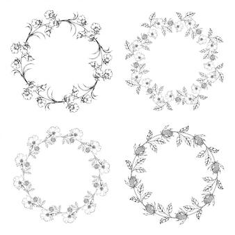 Couronne de fleurs cadre dessiné vide collection de fleurs pour le texte