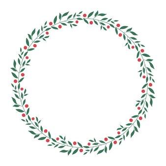 Couronne de fleurs cadre rond isolé sur fond blanc conception d'invitations