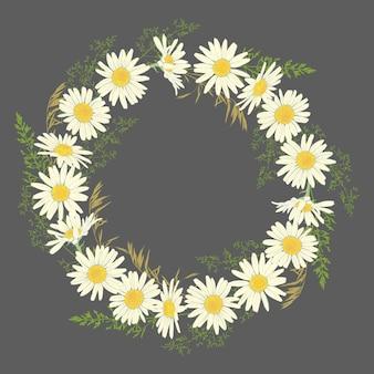 Couronne de fleurs de camomille sur fond gris.