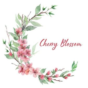 Couronne de fleurs de cerisier aquarelle dessinée à la main avec des fleurs, des feuilles et des branches