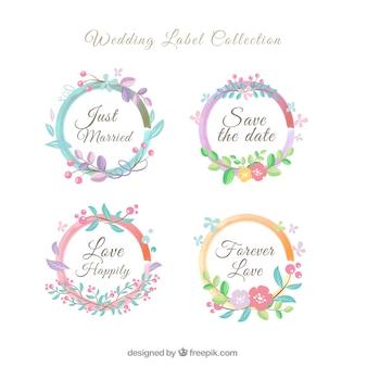 Couronne de fleurs collection d'étiquettes de mariage