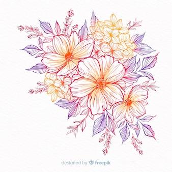 Couronne de fleurs décoratives dessinées à la main