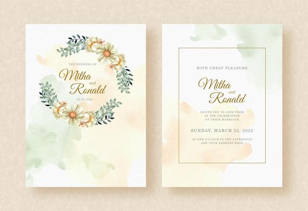 Couronne de fleurs et de feuilles aquarelle sur fond d'invitation de mariage
