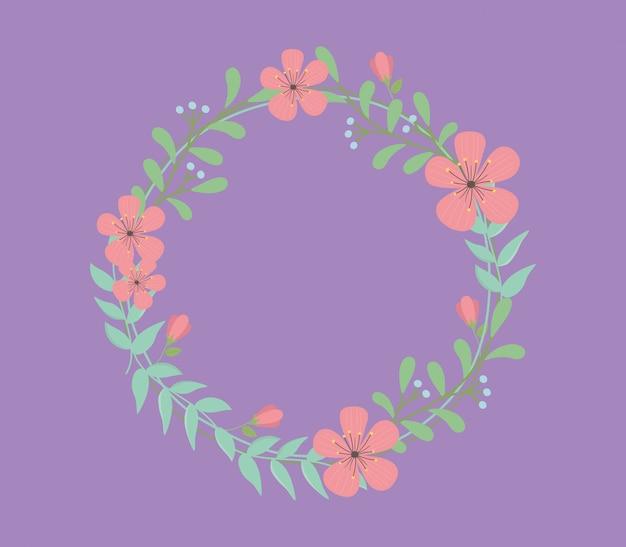 Couronne de fleurs et feuilles décorative