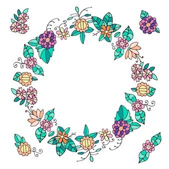 Couronne de fleurs et de feuilles de griffonnage