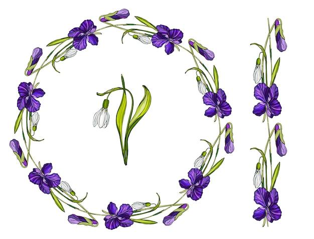 Couronne de fleurs avec des fleurs de printemps.