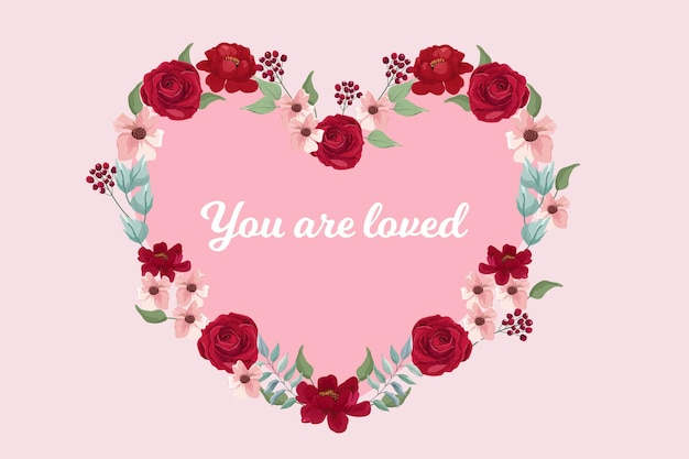 Couronne de fleurs en forme de coeur pour mariage, bannière de la saint-valentin, carte