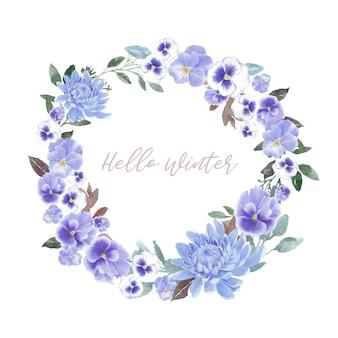 Couronne de fleurs d'hiver avec chrysanthème, orchidée