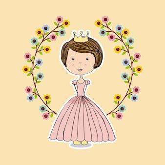 Couronne de fleurs et icône de princesse rose