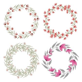 Couronne de fleurs avec illustration aquarelle florale rouge