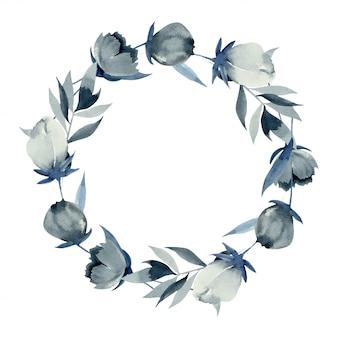 Couronne de fleurs indigo aquarelles, dessinés à la main sur blanc