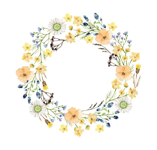 Couronne de fleurs isolé sur blanc