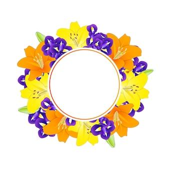 Couronne de fleurs jaune orangé et fleur d'iris bleu