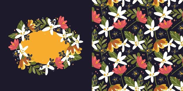 Couronne de fleurs et modèle sans couture