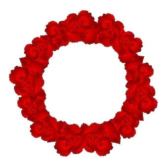 Couronne de fleurs d'oeillet rouge