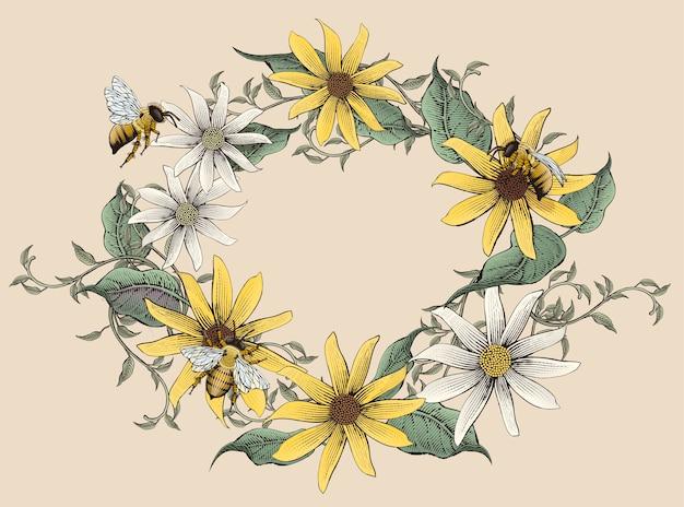 Couronne de fleurs d'ombrage floral élégant rétro, gravure sur fond beige