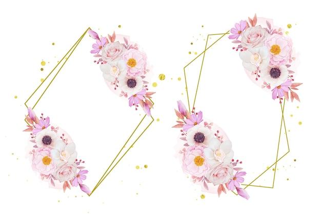 Couronne de fleurs d'orchidée et d'anémone roses roses