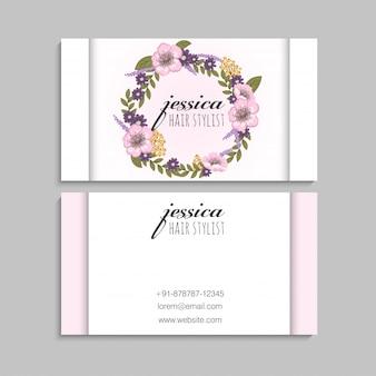 Couronne de fleurs rose cartes de visite