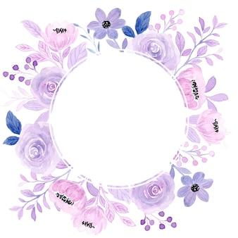 Couronne de fleurs rose tendre aquarelle