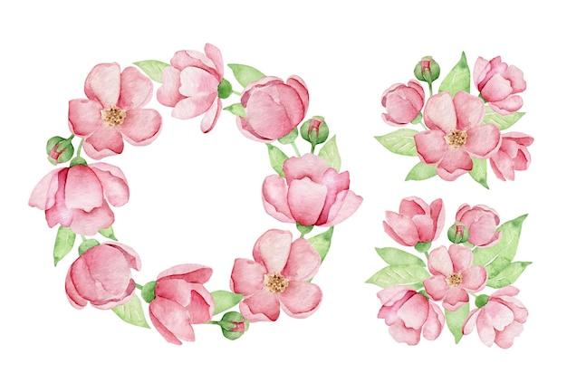 Couronne de fleurs roses aquarelle et compositions de fleurs