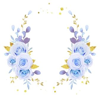 Couronne de fleurs de roses bleues aquarelles
