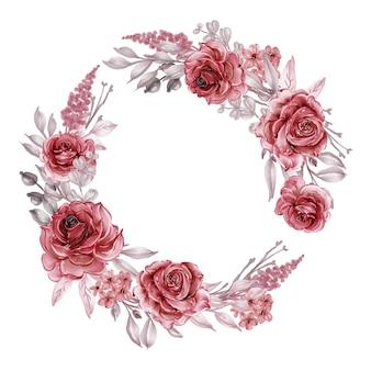 Couronne de fleurs avec des roses bordeaux et rouges, feuilles