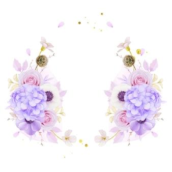 Couronne de fleurs avec des roses roses aquarelles
