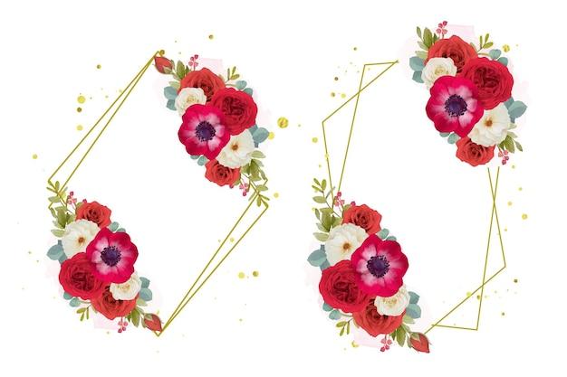 Couronne de fleurs rouges aquarelle